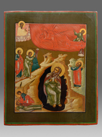 Icon Prophet Elijah and his fieryascent to heaven